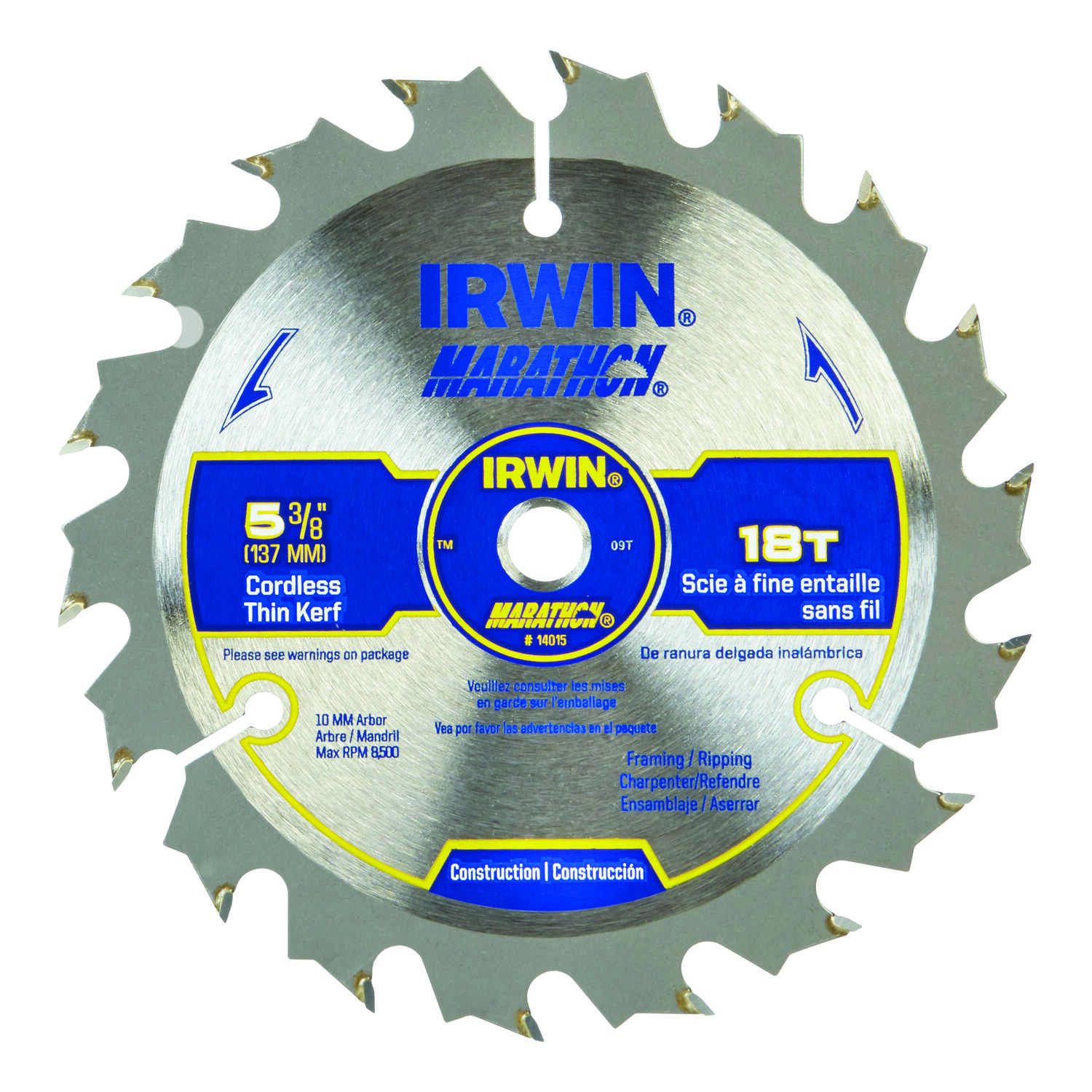 Irwin  Marathon  5-3/8 in. Dia. x 10 mm  Carbide  Circular Saw Blade  18 teeth 1 pc.