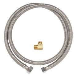 Ace Hardware  1/2 in. FIP   x 3/8 in. Dia. Compression  72 in. Braided Stainless Steel  Supply Line