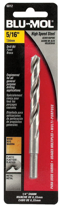 Blu-Mol  5/16 in. Dia. x 4.5in  L 1/4 in. Round Shank  1 pc. High Speed Steel  Drill Bit