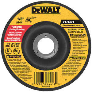 DeWalt  4 in. Dia. x 1/8 in. thick  x 5/8 in.   Aluminum Oxide  Metal Grinding Wheel  15200 rpm 1 pc