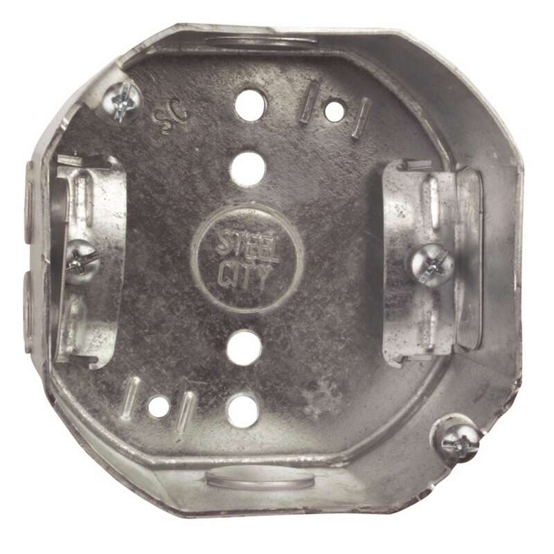 Steel City  4 in. Octagon  Galvanized Steel  Electrical Ceiling Box  Silver