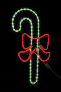 Celebrations  LED Candy Cane With Red Bow  Christmas Decoration  Green-Red  1 pk