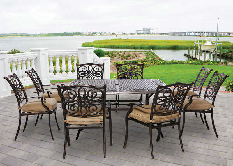 Hanover  9 pc. Bronze  Aluminum  Patio Set  Tan
