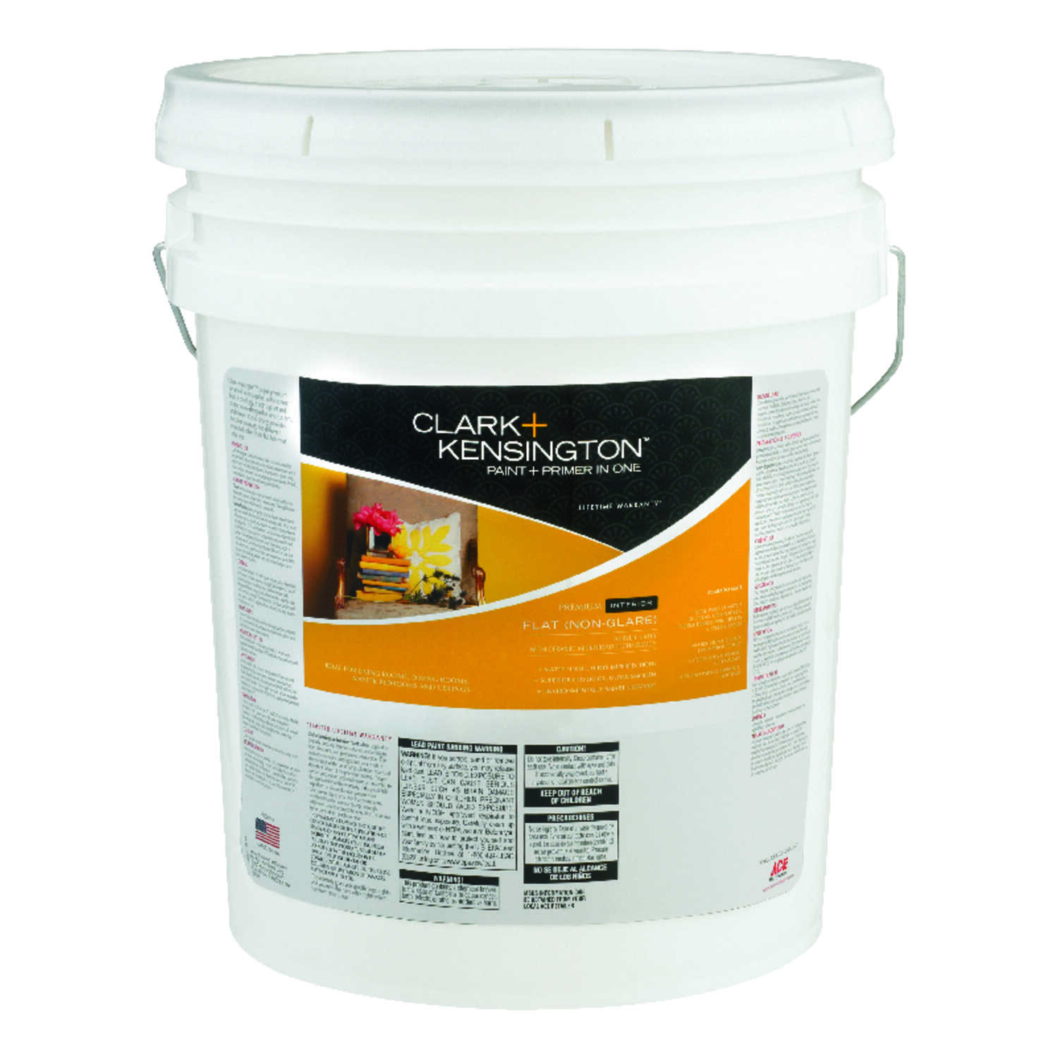 Clark+Kensington Paint and Primer In One Acrylic Latex Interior Flat  Midtone Tint Base  5 gal.