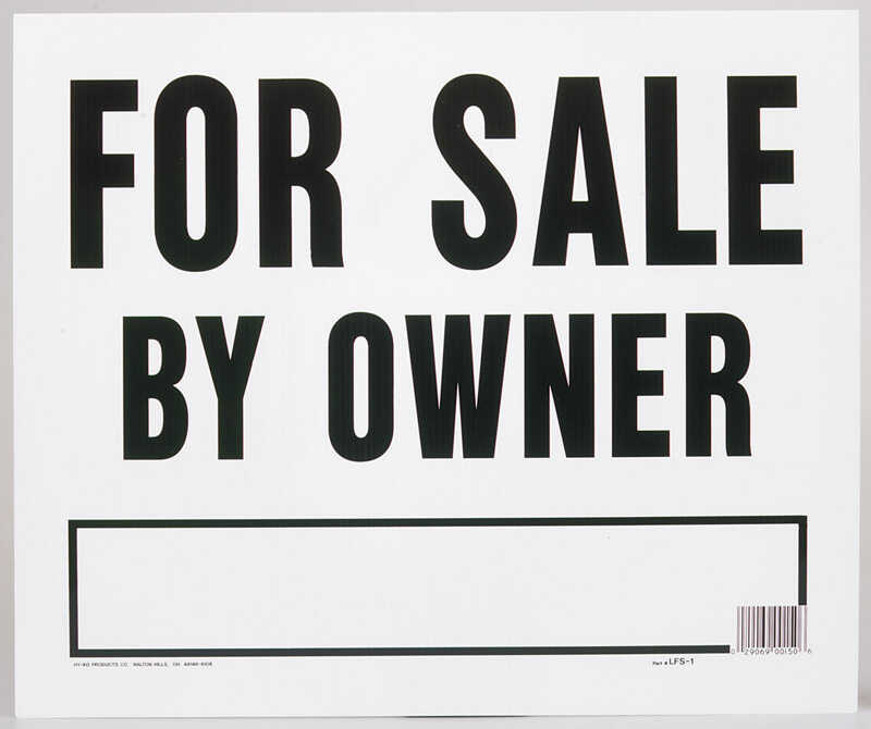 Hy-Ko  English  For Sale by Owner  Sign  Plastic  20 in. H x 24 in. W