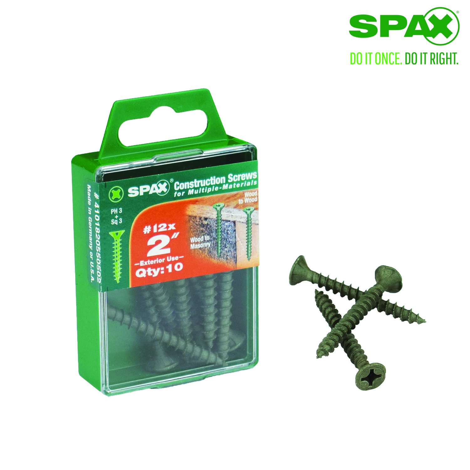 SPAX  No. 12   x 2 in. L Phillips/Square  Flat  High Corrosion Resistant  Steel  Multi-Purpose Screw