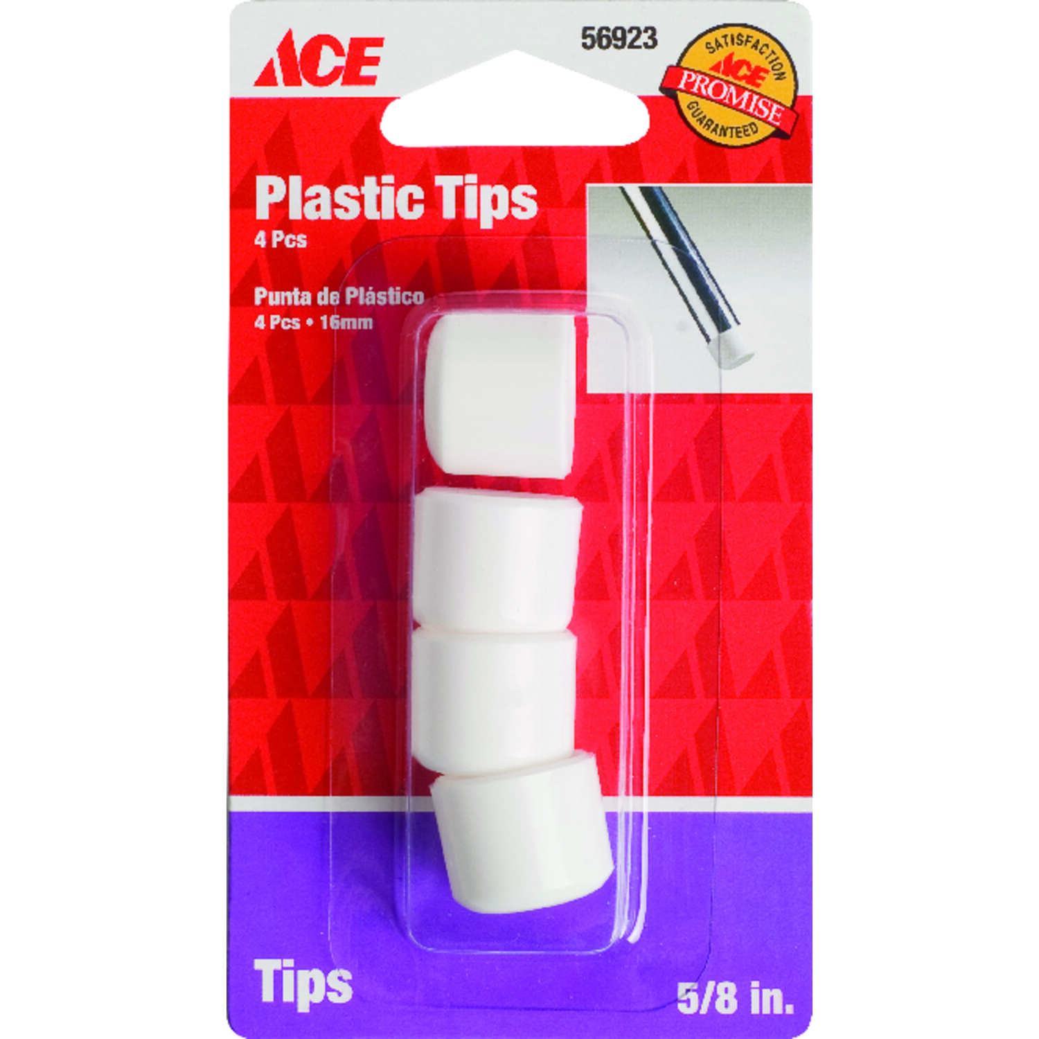 Ace  Plastic  Leg Tip  Round  5/8 in. W 4 pk White
