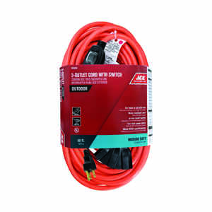 Ace  Outdoor  Orange  50 ft. L 14/3 SJTW  Extension Cord