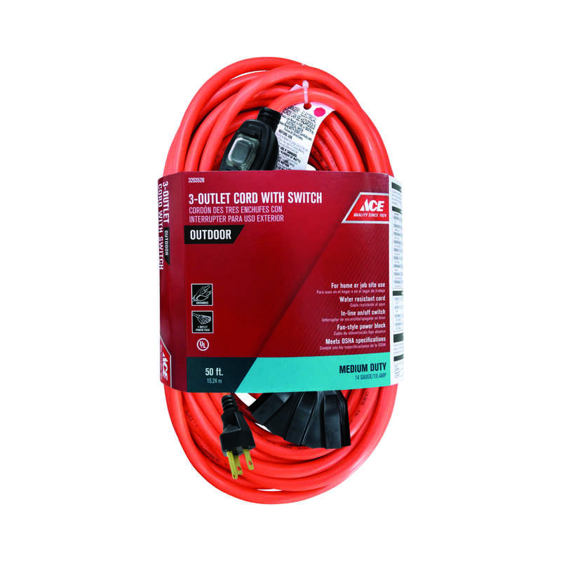 Ace  Outdoor  50 ft. L Orange  Extension Cord  14/3 SJTW