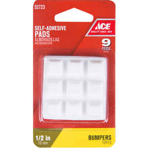 Ace  Vinyl  Bumper Pads  White  Square  1/2 in. W x 1/2 in. L 9 pk Self Adhesive