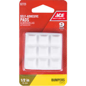Ace  Vinyl  Bumper Pads  Square  1/2 in. W x 1/2 in. L 9 pk Self Adhesive White