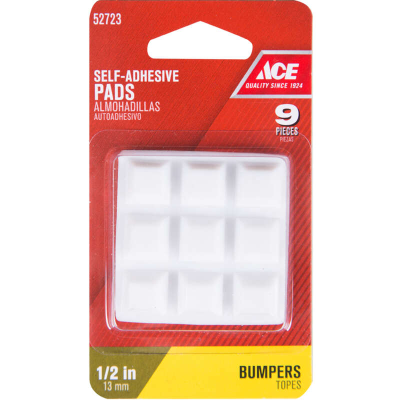 Ace  Vinyl  Self Adhesive Bumper Pads  White  Square  1/2 in. W x 1/2 in. L 9 pk