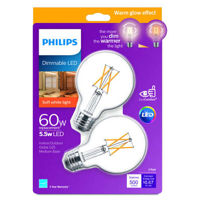 Philips  G25  E26 (Medium)  LED Bulb  Soft White  60 Watt Equivalence 2 pk