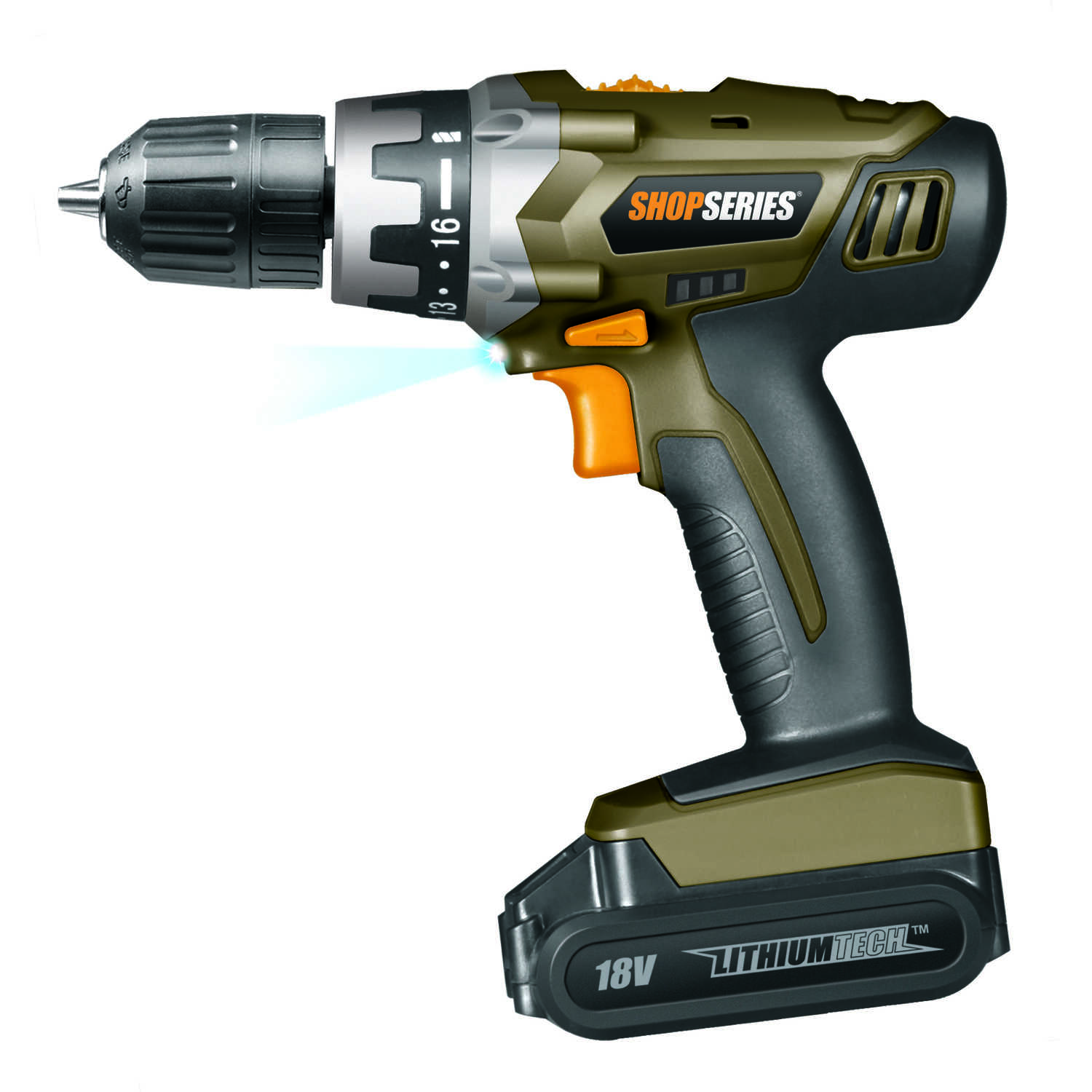 Rockwell  Shopseries  18 volt 3/8 in. Cordless Drill/Driver  1200 rpm 2 speed