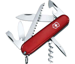 Victorinox Swiss Army  Camper  Red  Stainless Steel  3.5 in. Pocket Knife