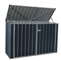 Build-Well  4.25 ft. H x 6.41 ft. W x 3.2 ft. D Gray  Steel  Outdoor Storage Shed