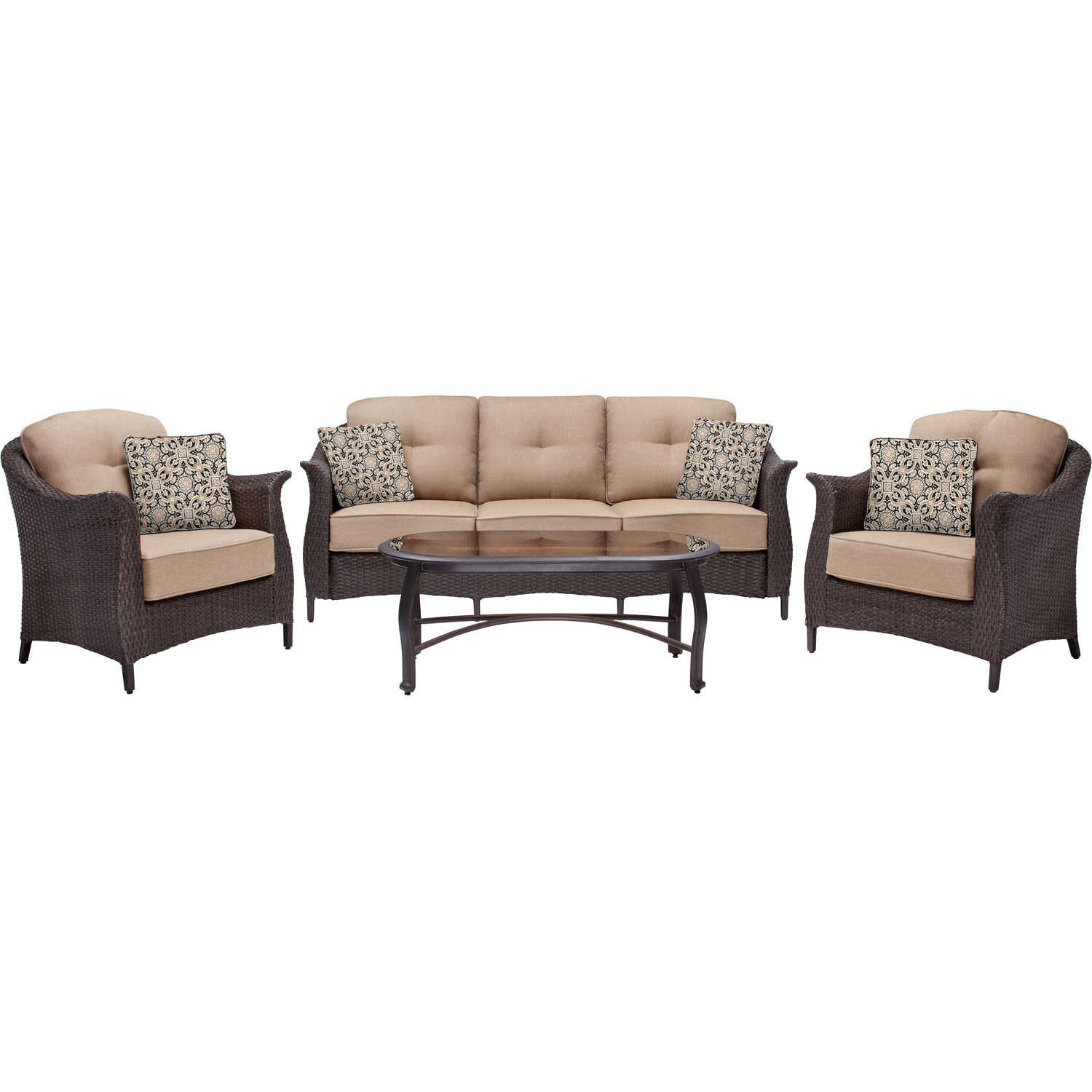 Hanover  Gramercy  4 pc. Java  Steel  Patio Set  Country Cork