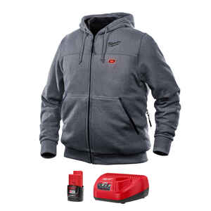 Milwaukee  M12  L  Long Sleeve  Unisex  Full-Zip  Heated Hoodie Kit  Gray