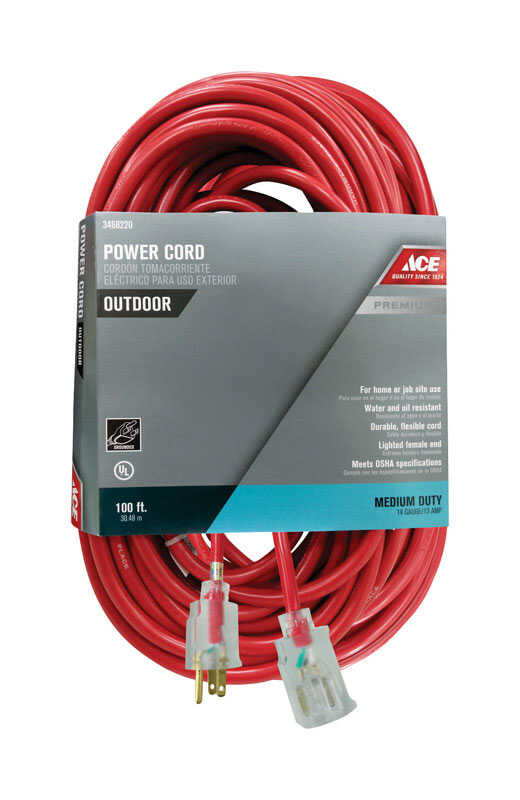 Ace  Outdoor  100 ft. L Red  Extension Cord  14/3 SJTOW