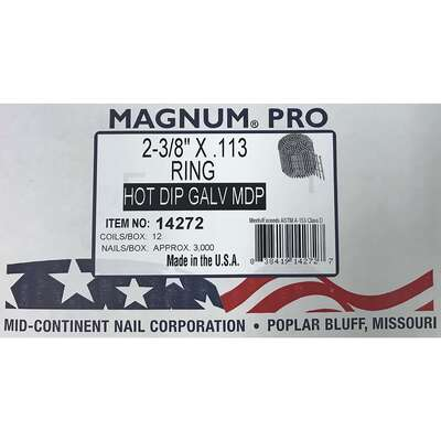 Magnum Pro  2-3/8 in. Angled Coil  Nails  15 deg. Ring Shank  3000 pk