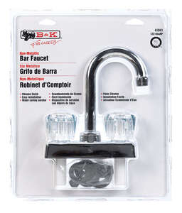 B & K  Washerless Cartridge  Two Handle  Chrome  Bar Faucet