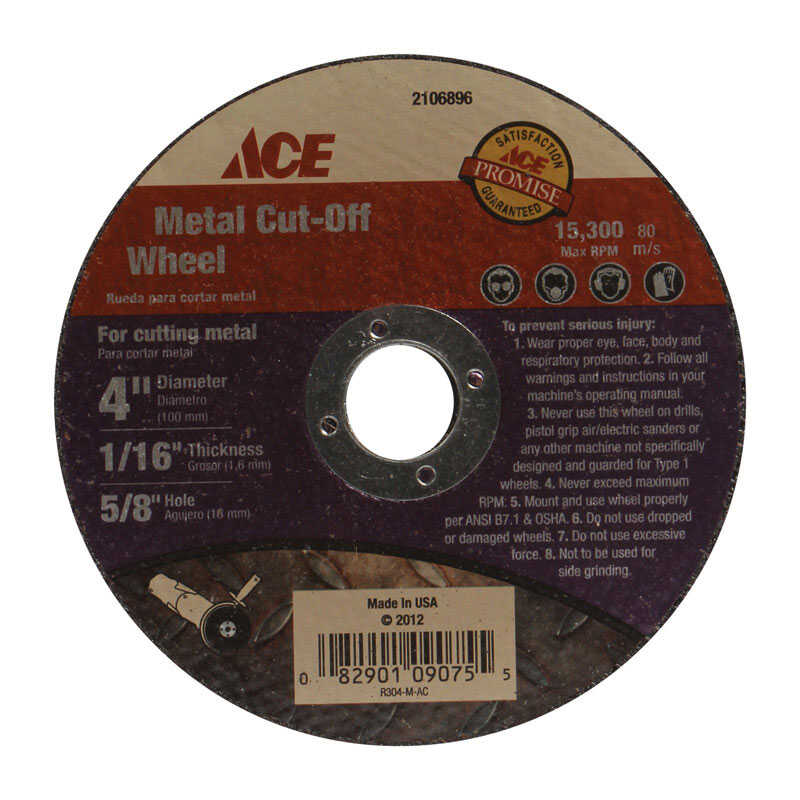 Ace  1/16 in.  x 5/8 in.  4 in. Metal Cut-Off Wheel  1 pc.