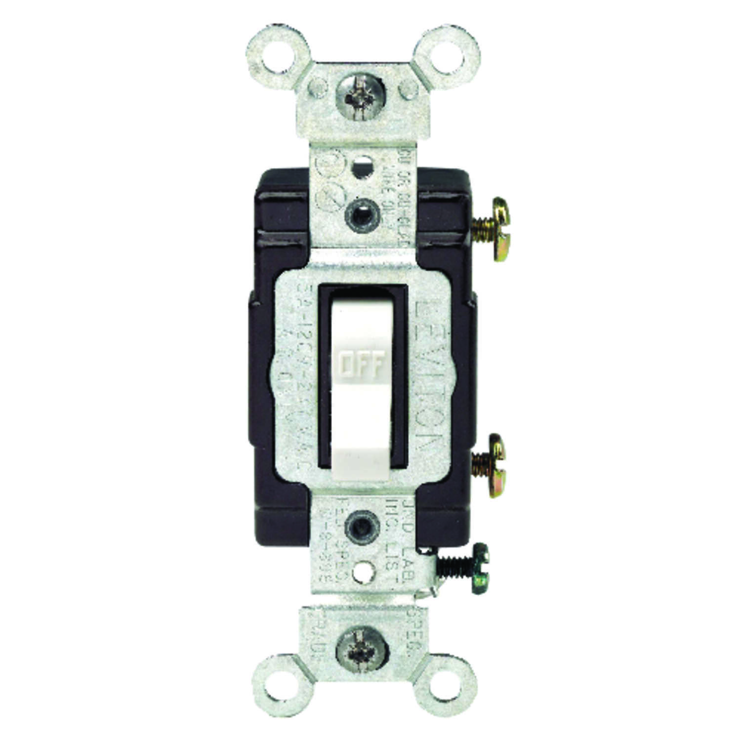 Leviton  15 amps Commercial Illuminated  15 amps Switch  1 pk White  Toggle
