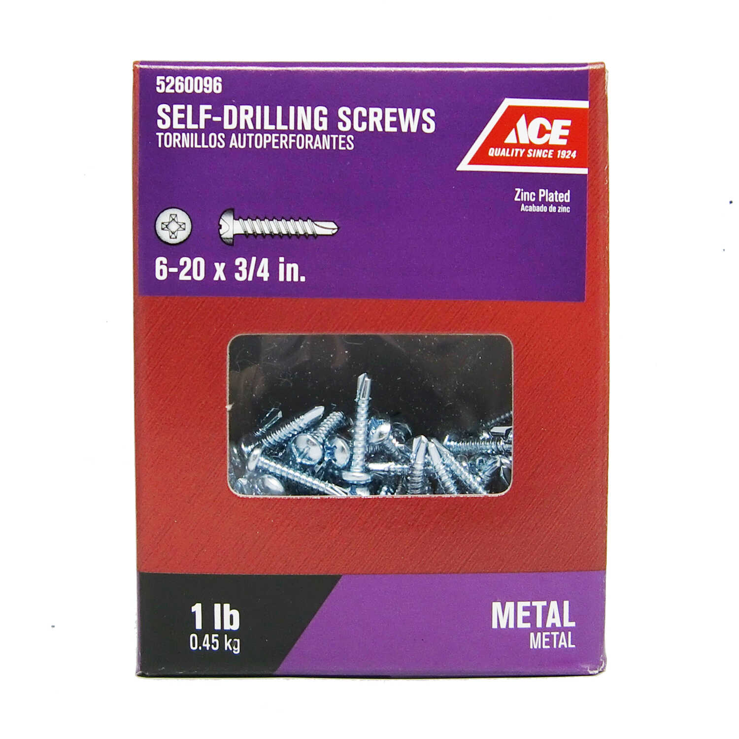 Ace  6-20 Sizes  x 3/4 in. L Phillips  Pan Head Zinc-Plated  Steel  Self- Drilling Screws  1 lb.
