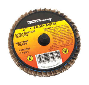 Forney  Industries Quick Change  3 in. Dia. Zirconia Aluminum Oxide  Flap Disc  36 Grit 20000 rpm 1
