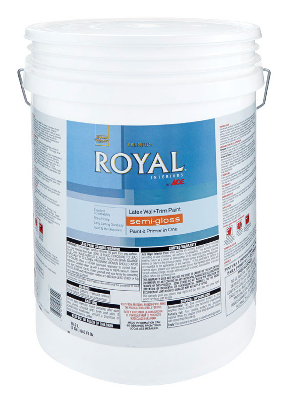 Ace  Royal  Semi-Gloss  Vinyl Acetate/Ethylene  Interior Latex Wall+Trim Paint  Ultra White  5 gal.