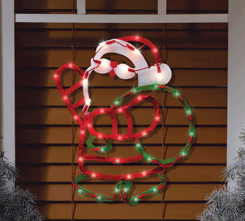 Impact Innovations  Lit Santa Silhouette  Christmas Decoration  Multicolored  1 pk PVC