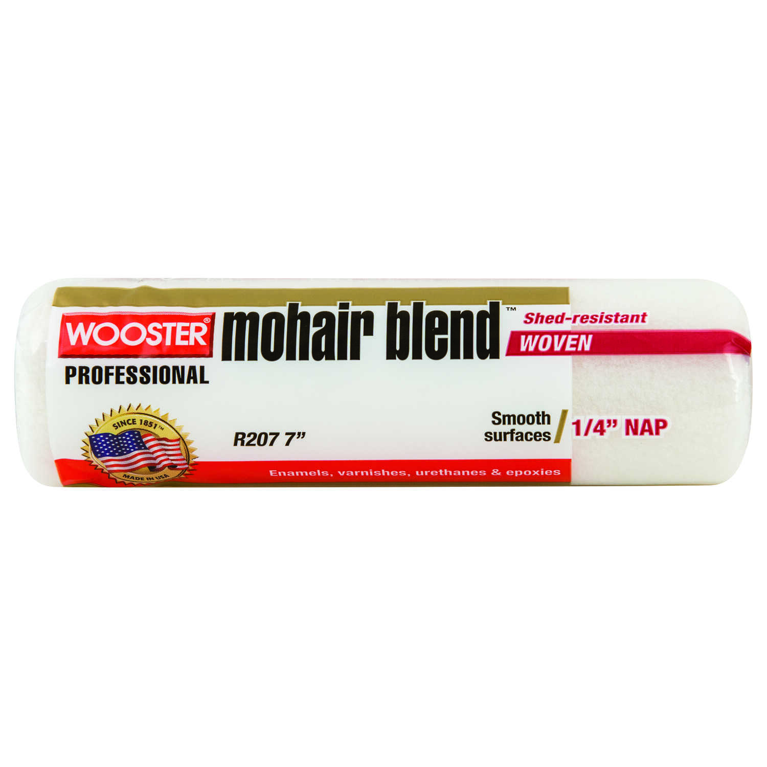 Wooster  Mohair Blend  Mohair Blend  1/4 in.  x 7 in. W Regular  Paint Roller Cover  For Smooth Surf