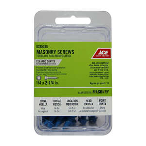 Ace  1/4 in.   x 2-1/4 in. L Slotted  Hex Washer Head Ceramic  Steel  Masonry Screws  15 pk