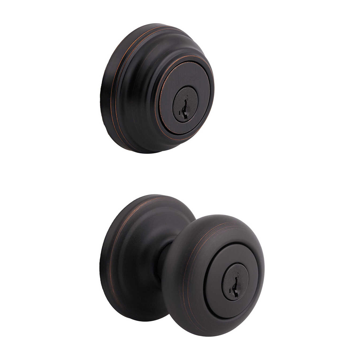 Kwikset  Juno  Venetian Bronze  Knob and Single Cylinder Deadbolt  ANSI/BHMA Grade 2  KW1  1-3/4 in.