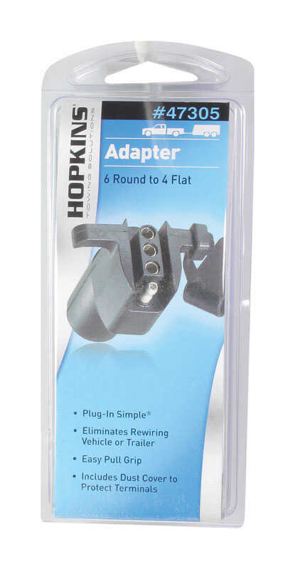 Hopkins  6 Round to 4 Flat  Trailer Adapter  6.9 in.