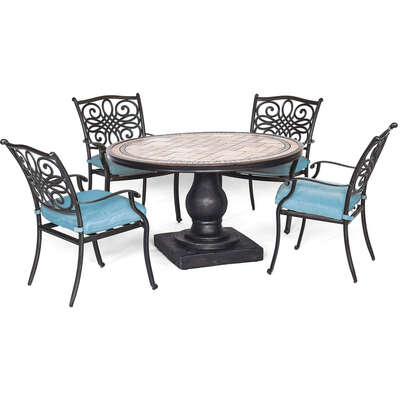 Hanover  Monaco  5 pc. Bronze  Aluminum  Dining Patio Set  Blue