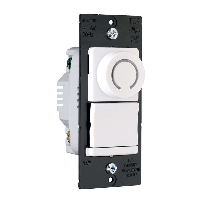 Pass & Seymour  White  700 watts Rotary  Dimmer Switch  1 pk