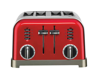 Cuisinart  Stainless Steel  Red  4 slot Toaster  7.4 in. H x 11.14 in. W x 10.67 in. D