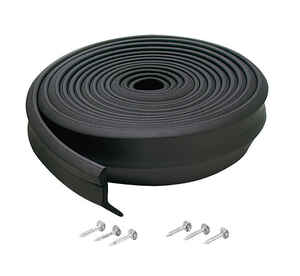 M-D Building Products  Black  Rubber  Door Bottom  For Garage Door 16 ft. L x 1 in.