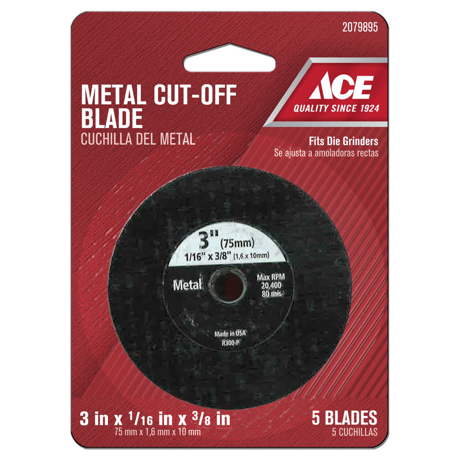 Ace  3 in. Silicon Carbide  Metal Cut-Off Blade  0.06 in. thick  x 3/8 in.  5 pc.