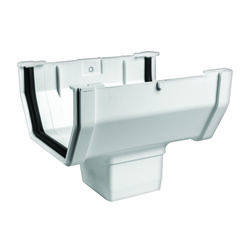 Genova  Raingo  6.4 in. H x 5 in. W x 4.9 in. L White  Vinyl  Gutter Drop Outlet