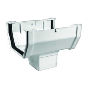 Raingo  6.4  L x 5 in. W x 5 in. H White  Vinyl  Gutter Drop Outlet