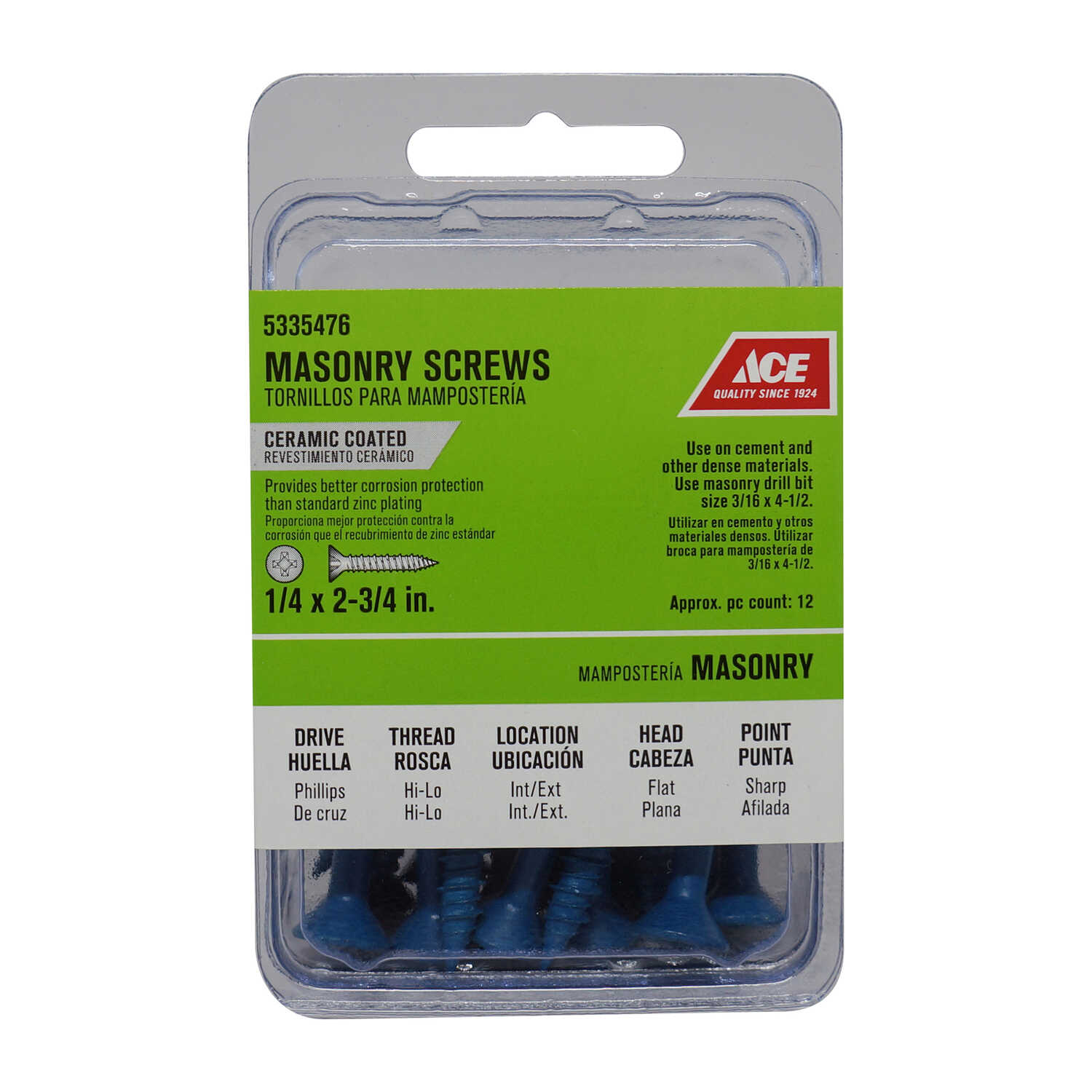 Ace  1/4 in.   x 2-3/4 in. L Phillips  Flat Head Ceramic  Steel  Masonry Screws  12 pk