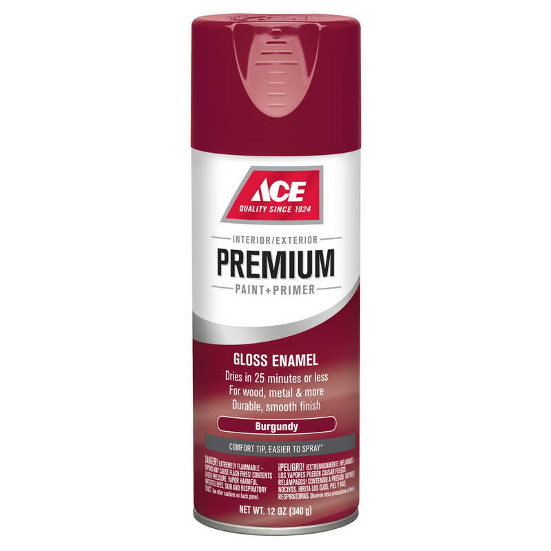 Ace  Premium  Gloss  Enamel Spray Paint  12 oz. Burgundy