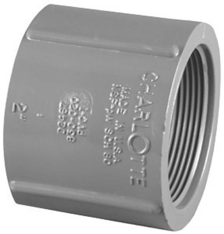 Charlotte Pipe  Schedule 80  1-1/2 in. FPT   x 1-1/2 in. Dia. FPT  PVC  Coupling