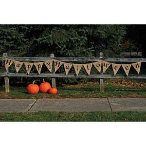 Fun World  Happy Halloween Banner  Halloween Decoration  14 in. H x 1/2 in. W x 12 ft. L 1 pk