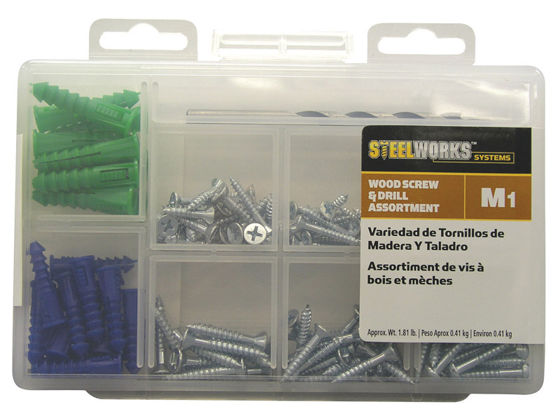 HILLMAN  M1  No.8, No.10, No.12   x Assortment in. L Phillips  Blue  Steel  Flat  6 pk Wood Screw an