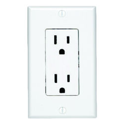 Leviton  Decora  15 amps 125 volt White  Outlet  5-15R  1 pk