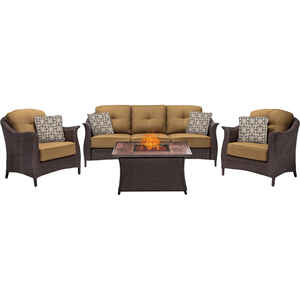 Hanover  Country Cork  4 pc. Java  Steel  Country Cork  Firepit Set  Tan