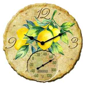 Springfield  Lemons  Clock/Thermometer  Polyresin  Multicolored